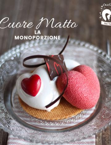 """Monoporzione """"Cuore Matto"""": cuori al cioccolato bianco e mousse al pistacchio siciliano"""