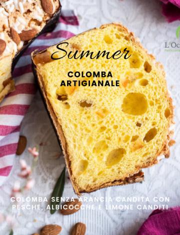 Summer: colomba con pesche, albicocche e limone candito